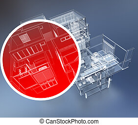 Building security - 3D rendering of building monitoring...