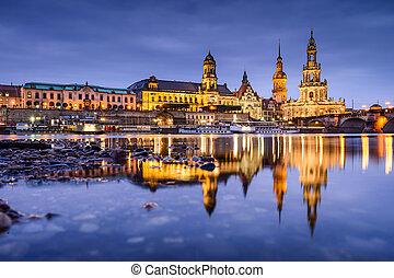 Dresden Germany Skyline - Dresden, Germany old town skyline...