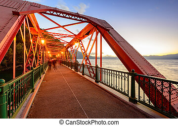 Sansen Bridge spanning Shikotsu Lake in the northern Island...