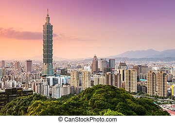 Taipei, Taiwan skyline of the Xinyi District.