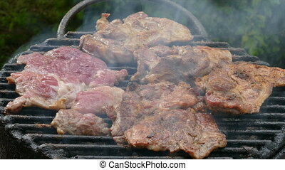 Grilling meat, barbecue