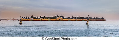 San Michele Cemetery, Venice - A panoramic view of San...