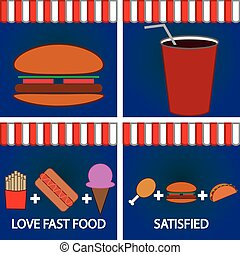 Fast food - Set of colored backgrounds with fast food Vector...