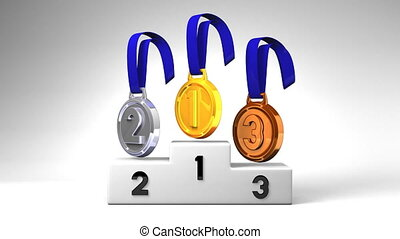 Medals And Podium On White Background. Loopable 3D render...