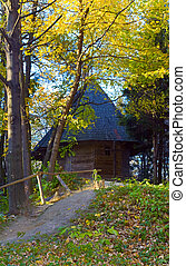 wood church - Ukrainian historical country wood church in...