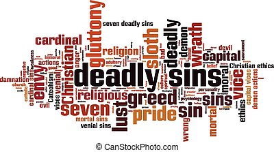 Deadly sins word cloud concept. Vector illustration