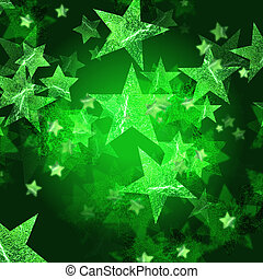 green stars over dark green background with feather center