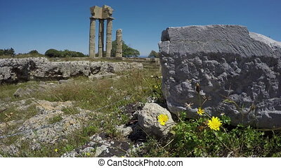 Apollo temple ruins columns , - Rhodes oldest historical...