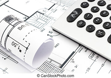 Architectural drawings of a house with calculator
