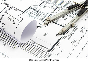 Architectural drawings of a house with compass
