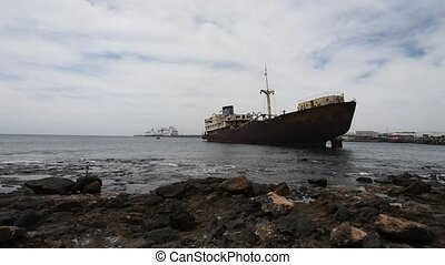broken old ship on the island of Lanzarote, Canary Islands