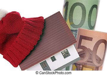 Service charge settlement - small house with hat and euro...