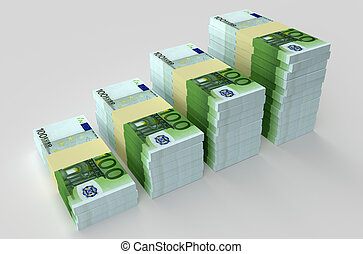 Many euro banknotes. Money concepts