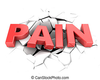 pain - abstract 3d illustration of pain text and cracks