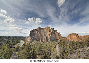Smith Rock State Park in Terrebonne Oregon with White Clouds...