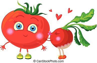 Radish in love with tomato. Vector characters.