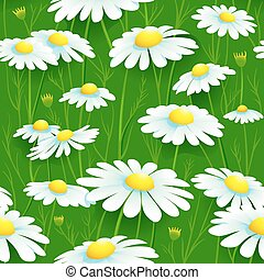 Seamless camomile pattern - Seamless summer camomile meadow...