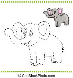 Connect the dots and coloring page - elephant