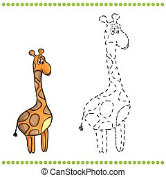 Connect the dots and coloring page - giraffe