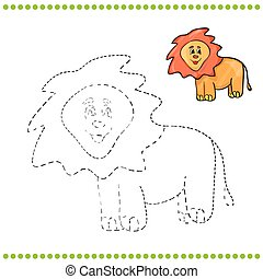 Connect the dots and coloring page - lion