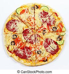 grande, sabroso, pizza, Cortar, en, pedazos, en, blanco,...
