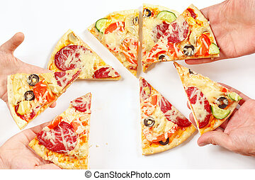Child and adult hands snapping up pieces of flavored pizza -...