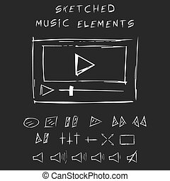 Doodle music elements set, sketch design.