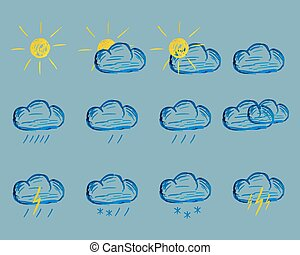 Weather Felt Pen Drawing Icons - Weather markers drawing...