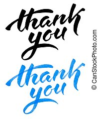 Thank you text - Vector handwritten calligraphy inscription...