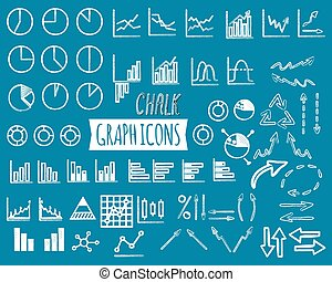 Business and office charts. Chal edition. Set of thin line graph icons. Outline. Can be used as elements in infographics, logo, in projects. Unusual design