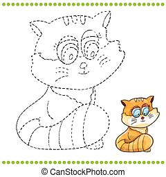 Connect the dots and coloring page - cat