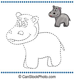 Connect the dots and coloring page - hippopotamus
