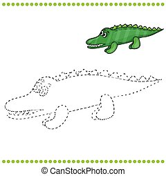 Connect the dots and coloring page - crocodile