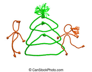 New years fir tree from rope on white background