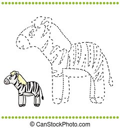 Connect the dots and coloring page - zebra