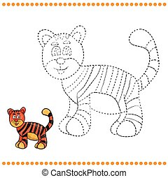 Connect the dots and coloring page - tiger