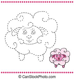 Connect the dots and coloring page - lamb