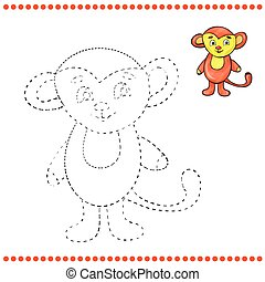 Connect the dots and coloring page - monkey