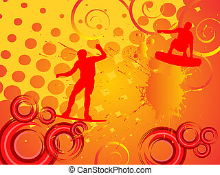 wake-boarder in action - vector illustration of wakeboarder...