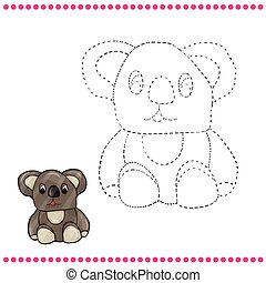 Connect the dots and coloring page - koala