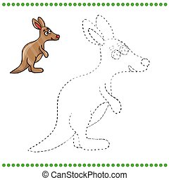 Connect the dots and coloring page - kangaroo
