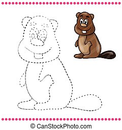 Connect the dots and coloring page - beaver