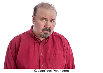 Upset and disappointed frowning middle-aged man - Upset and...