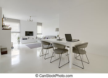 dining and living room - image of modern white dining and...