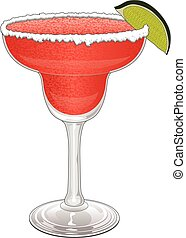 Margarita-Strawberry is an illustration of a frozen...