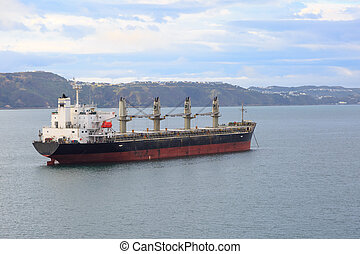 Oil tanker at anchor near Wellington - An oil tanker at...