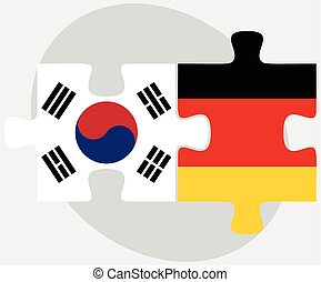 South Korea and Germany Flags in puzzle - Vector Image -...