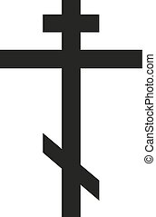 Isolated symbol of orthodox cross in black color