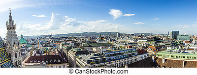 Panoramic view of Vienna - Panoramic view of Vienna city on...