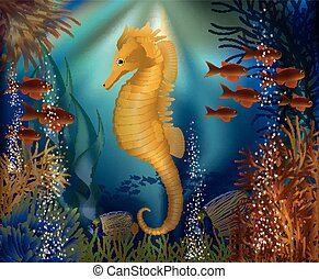 Underwater wallpaper with seahorse seafish, vector...
